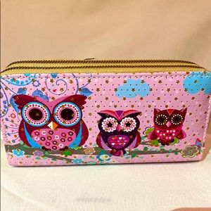 Wallet Wristlet Pink with Owl and Gold Stars Desig